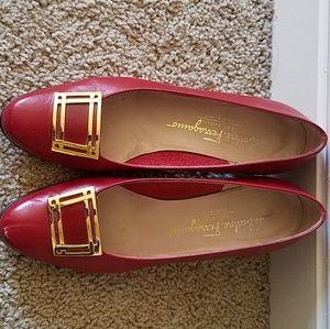 Salvatore Ferragamo Gold Buckle Shoes